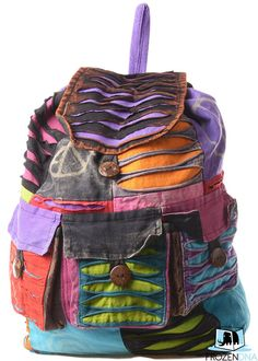 Hand Made Nepalese Hippie Backpack | Hippy Rucksack Hand made in Kathmandu , Nepal | Festival Rave Music Bag | Bohemian Boho Backpack FX294