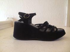 90s Faux Suede Black Strappy Platform Wedge Sandal 8 via Etsy