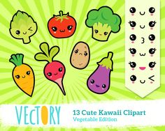 Cute Kawaii Vegetable Clipart Japan Clipart Kawaii Food by Vectory