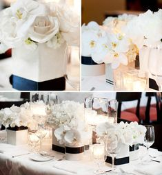 Love these centerpieces we can save money by using red carnations and using vases that we each have at home
