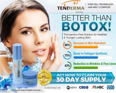 Tenderma Skin Cream is a rightful alternative to Botox and a solution to eradicate signs of aging. It reverses the skin damages caused by UV and sun damage through the aid of stem cell ingredients which will strengthen the skin's epidermal barrier.  #AntiWrinkle #Moisturizer #skincare