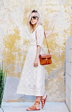 10 Bloggers With The Best Feminine Style via @WhoWhatWear. All-over Lace Dress with Tan Sandals