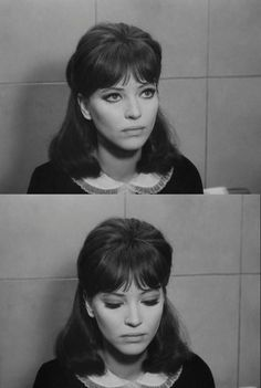 "Anna Karina in Jean-Luc Godard's French film ""Alphaville"" Perfect hair and make up! Anna Karina, Vintage Hairstyles, Hairstyles With Bangs, Wedding Hairstyles, Updo Hairstyle, Hair Inspo, Hair Inspiration, French New Wave, French Style"