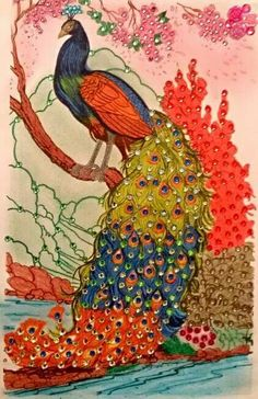 Peacock Artwork, Peacock Bird, Peacocks, Stained Glass, Drawings, Painting, Colorful Drawings, Peacock, Painting Art