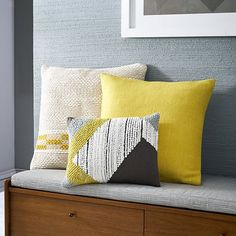 Silk Hand-Loomed Pillow Cover - Citrus Yellow | west elm