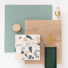 Blue Green Paints, Green Paint Colors, Colours, Mood Board Interior, Interior Design Boards, Terrazo, Fireclay Tile, Material Board, Bathroom Plans
