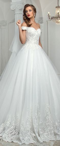 NEW! Modest Tulle Off-the-shoulder Neckline A-Line Wedding Dress With Lace Appliques
