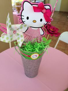 Love this centerpiece at a Hello Kitty party!  See more party ideas at CatchMyParty.com!