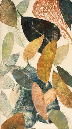 Autumn leaf II | By Mariann Johansen-Ellis.  Monoprint up in etching inks, added gold and metallic inks.