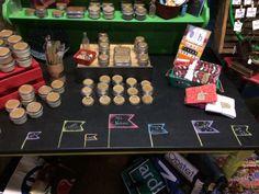 Chalkboard display table.