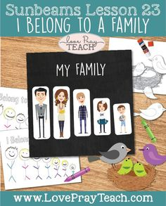 """LDS Primary 1 Sunbeams Lesson 23: """"I Belong to a Family"""" Lesson Packet! This lesson packet includes PDF downloads for: Bird Family Activity Family Member cut-outs I Can Help My Family Activity Idea Coloring Page Cut and Color Bird Family Activity Ideas and Coloring Pages from The Friend Magazine"""