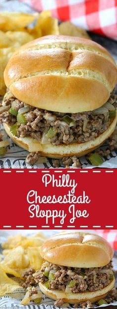 These Philly Cheesesteak Sloppy Joes have all the delicious ingredients found in the steak sandwich but we make this version with ground beef and then serve on a hamburger bun. with ground beef healthy Philly Cheesesteak Sloppy Joes Cheese Steak Sandwich Recipe, Burritos, Cooking Recipes, Healthy Recipes, Meat Recipes, Yummy Recipes, Quick Recipes, Apple Recipes, Shrimp Recipes