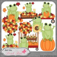 Fall Froggies 1 - Art by Leah Rae Clip Art : Digi Web Studio, Clip Art, Printable Crafts & Digital Scrapbooking!