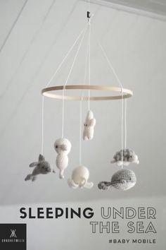 Ocean Themed Nursery, Sea Nursery, Nursery Themes, Crochet Baby Mobiles, Crochet Mobile, Baby Bedroom, Baby Boy Rooms, Room Boys, Baby Room Neutral