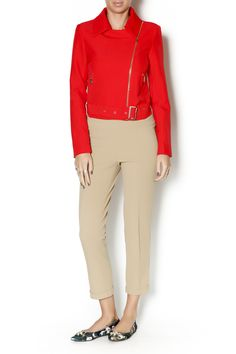 Red moto jacket with gold details