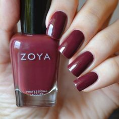 is a beautiful, deep burgandy shade that we love for Fall! Shown on Colo Pantone Red, Zoya Collection, Zoya Nail Polish, Red Nails, Fall Nails, My Forever, Our Love, Nail Colors, Nail Designs