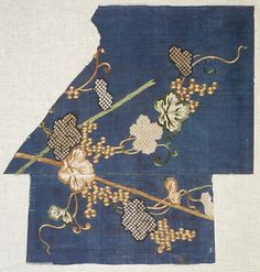Fragments of a Summer Kosode (Katabira) with Grapevine Date: late 17th–mid-18th century
