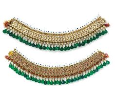 COLLECTION OF SHEIKH HAMAD BIN ABDULLAH AL-THANI -  Pair of Anklets, 1800–50, North India, Jaipur or Bikaner. Gold, set with white sapphires, with attached pearls and hanging glass beads; enamel on reverse. The Al-Thani Collection. (Photo: © Prudence Cuming Associates)