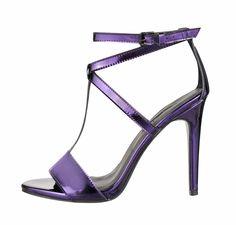 Metallic Strappy Sandal, £29, Dorothy Perkins Strappy Sandals, Backstage, Purple, Blue, Fall Winter, Metallic, Heels, Fashion, Sneakers