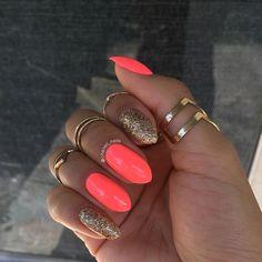 Bright Coral Nails, Coral Nails With Design, Neon Nails, Yellow Nails, Swag Nails, Coral Nail Designs, Coral Ombre Nails, Best Nail Designs, Coral Acrylic Nails