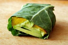 Roasted Squash, Cucumber and Avocado Collard Green Wrap