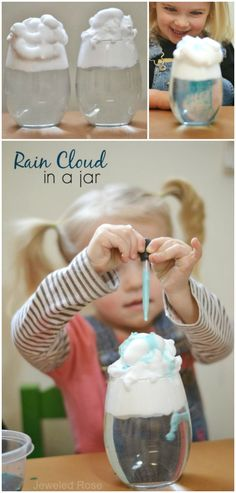 Rainclouds in a Jar:  Teach kids all about rain with this easy & fun experiment