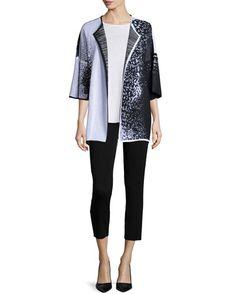-6GRW Misook  Sleeveless Long Tank Top, Women's Starry Night 3/4-Sleeve Jacket, Women's Slim Ankle Pants, Black, Women's