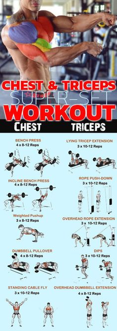 Chest and triceps superset workout is combined supersets mixed with bodyweight moves to charge up your training. Here are some of the best chest supersets which you should incorporate into your next workout to really get your arms pumped! Add strength and Chest And Tricep Workout, Triceps Workout, Chest Workouts, Best Tricep Exercises, Chest Exercises, Fitness Workouts, Fitness Courses, Super Set Workouts, Super Sets