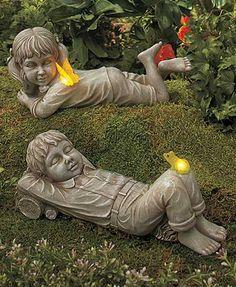 Solar Daydreaming Girl U0026 Boy Statue Lighted Butterfly Frog Garden Yard Decor  In Home U0026 Garden, Yard, Garden U0026 Outdoor Living, Garden Décor, Statues U0026  Lawn ...
