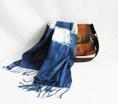Indigo cotton scarf with fringe Hand dyed scarf by Indigowares. On trend, looks great with everything! we offer free shipping! add FREESHIPPINGFOREVER coupon at the checkout