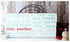 NEW Family Rules Sign - Family Rules Version III - Typography Word Art in Landscape. $95.00, via Etsy.
