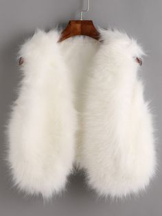 SheIn offers White Faux Fur Crop Vest & more to fit your fashionable needs. White Fur Vest, Faux Fur Vests, Fur Jackets, Winter Fashion Outfits, Kids Fashion, Fur Vest Outfits, Fur Waistcoat, Frock Patterns, Cute Sleepwear