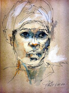 Diann Haistart ~ Survivor 11.05.27, 2011 (pen and ink, watercolour wash on recycled paper)