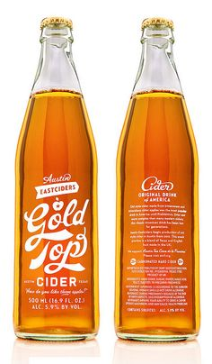 Austin Eastciders - artisan cider bottle design - beautiful typography and graphic design in this branding / logo Cool Packaging, Beverage Packaging, Bottle Packaging, Brand Packaging, Packaging Design, Branding Design, Identity Branding, Corporate Design, Brochure Design