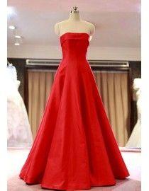 Stunning strapless elongated bodice puffy skirt satin carpet evening prom dresses 2015 PW5-081