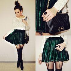 Velvet skirt (by Pam S) http://lookbook.nu/look/4778331-Banggood-Skirt-Velvet-Skirt