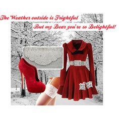 """""""Delightful!""""  Love the red velvet Dress...Classy but still Modern outfit for Christmas!"""