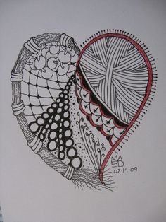 Heart Zentangles | Zentangle heart by zengami