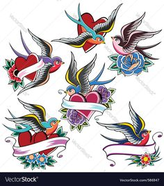 swallow tattoo set. Download a Free Preview or High Quality Adobe Illustrator Ai, EPS, PDF and High Resolution JPEG versions.