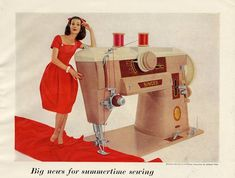 vintage singer ad ~ The sewing machine my mom taught me to sew on was like this. :)