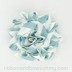 Ribbon And Bows Oh My! Agave <3 17 colors of #chevron Shabby Chiffon Flowers! #chiffonflower #shabbychic #teal #turquoise #aqua