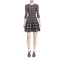 Alexander McQueen Plaid Fit-and-Flare Dress ($1,910) ❤ liked on Polyvore featuring dresses, fit & flare dress, flounce dress, white fit and flare dress, three quarter sleeve dress and alexander mcqueen dresses