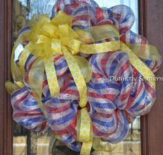 Support Our Troops Stunning patriotic by DistinctlySouthern, $50.00 Wreaths And Garlands, Deco Mesh Wreaths, Door Wreaths, Support Our Troops, Holiday Decorations, July 4th, 4th Of July Wreath, Burlap Wreath, Flags