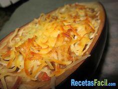 Berenjenas rellenas de carne y gratinadas al horno con queso