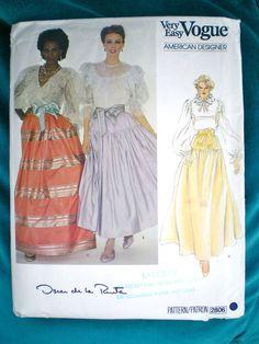 Stunning 80s Vintage Vogue Maxi Skirt Oscar De La Renta Sewing Pattern 2806 UK12 in Crafts, Sewing, Patterns | eBay