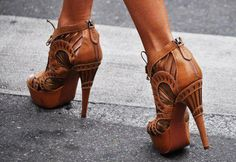 Brown Stiletto Platform Sandals of Carved Leather With Back Zippers