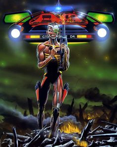 """Iron Maiden """"Somewhere in Time"""" by Derek Riggs Heavy Metal Bands, Heavy Metal Rock, Bruce Dickinson, Rock And Roll Bands, Rock N Roll, Rock Bands, Iron Maiden Posters, Eddie The Head, Iron Maiden Band"""