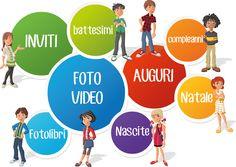 Dovete organizzare una FESTA per i vostri bimbi e mandare un INVITO?  Volete mandare gli AUGURI per qualsiasi ricorrenza (Compleanni, Natale, Pasqua, Festa della Mamma, Festa del Papà) con le vostre foto e una COMPOSIZIONE ORIGINALE?  Avete delle foto o dei filmati delle vacanze, della nascita dei vostri bimbi o di qualsiasi altro evento e volete trasformarli in un VIDEO da rivedere sui vostri dispositivi preferiti?