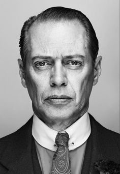 """steve buscemi by christian weber, of """"Boardwalk Empire,"""" the Prohibition themed HBO series. Little known fact about Buscemi, he is a former NYFD firefighter who even with a acting career, he went back to firefighting after Steve Buscemi, Foto Portrait, Portrait Photography, Hollywood Glamour, Hollywood Stars, Boardwalk Empire, Celebrity Portraits, Celebrity Photography, Catherine Deneuve"""