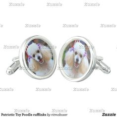 Patriotic Toy Poodle cufflinks  #cufflinks #fashion #mens #poodle #poodles #dog #puppies #4thofjuly